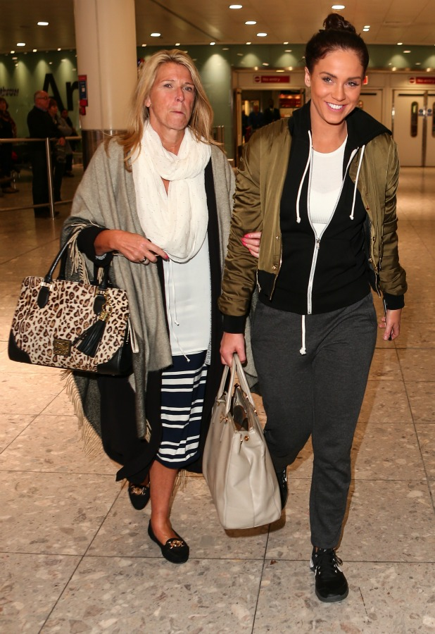 Winner of 'I'm a Celebrity, Get me Out of Here' Vicky Pattison arrives at Heathrow airport with runner-up Ferne McCann. 9 Dec 2015