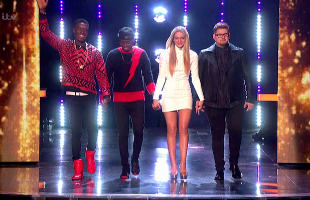 The finalists (Reggie 'N' Bollie, Louisa Johnson and Che Chesterman) ahead of next week's final, on the results show of 'The X Factor'. Broadcast on ITV1 HD.