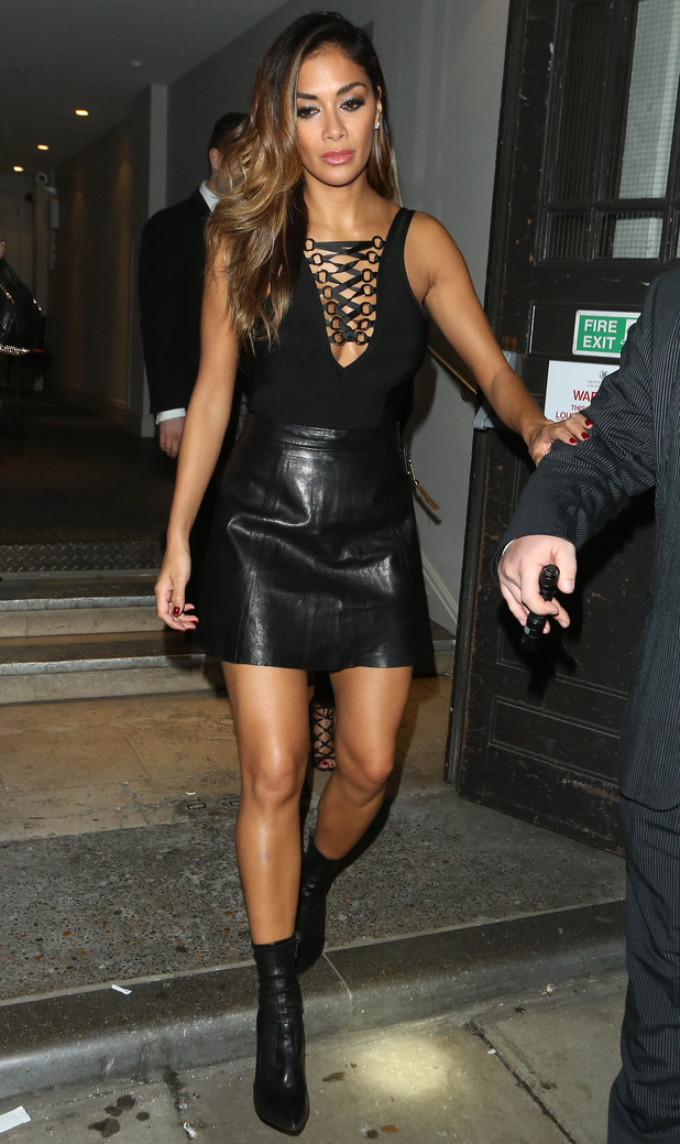 Nicole Scherzinger seen leaving Drama nightclub after a night out with friends. The singer was seen leaving the club following her charity performance at the Grosvenor House hotel, London - 17th December 2015