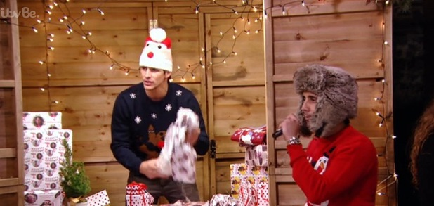 Liam Blackwell and Jake Hall Christmas wrap, TOWIE Essexmas 16 December