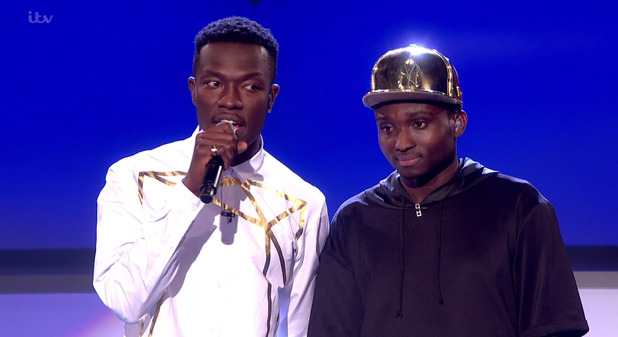X Factor: Reggie 'N' Bollie give thanks for the opportunity after performing the winner's single 'Forever Young'. 13 December 2015.