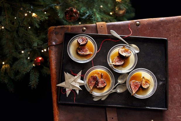 Maple panna cotta with buttered rum figs Waitrose recipe