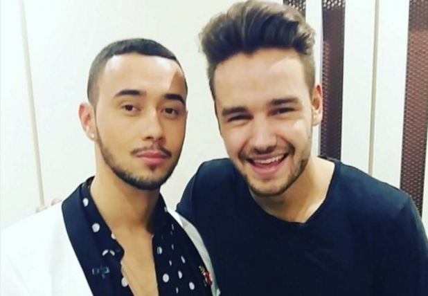 Mason Noise and Liam Payne backstage at The X Factor 13 December