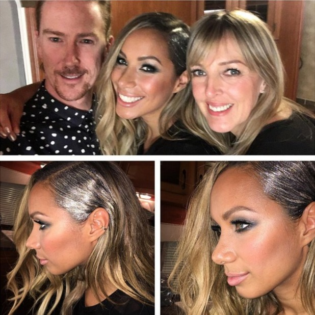Leona Lewis poses with her hairdresser Ben Cooke and make-up artist Jane Bradley before The X Factor final performance, 12 December 2015