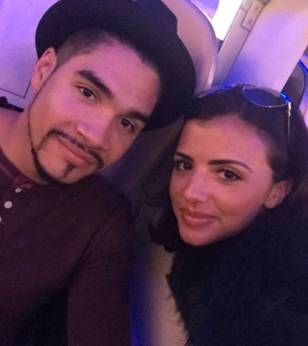 Lucy Mecklenburgh and Louis Smith plane selfie en route to New York 15 December