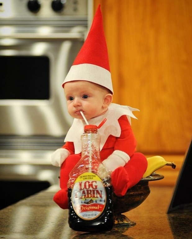 More cute photos of baby Elf on the Shelf