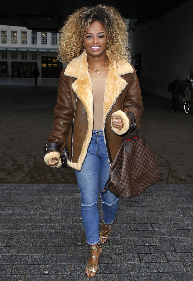 Fleur East seen leaving the BBC Radio 1 Studios in London, England on December 15, 2015