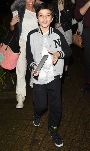 Katie Price leaving the New Victoria Theatre with her husband Kieran Hayler, and children Princess Tiaamii Andre and Junior Andre, having performed in the pantomime 'Sleeping Beauty' 15 Dec 2015
