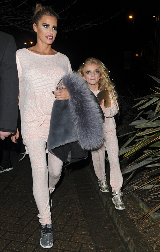 Katie Price seen leaving New Victoria Theatre in Woking after performing in Sleeping Beauty Pantomime
