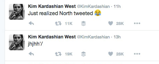 Kim Kardashian reveals North tweeted, 14 Dec 2015