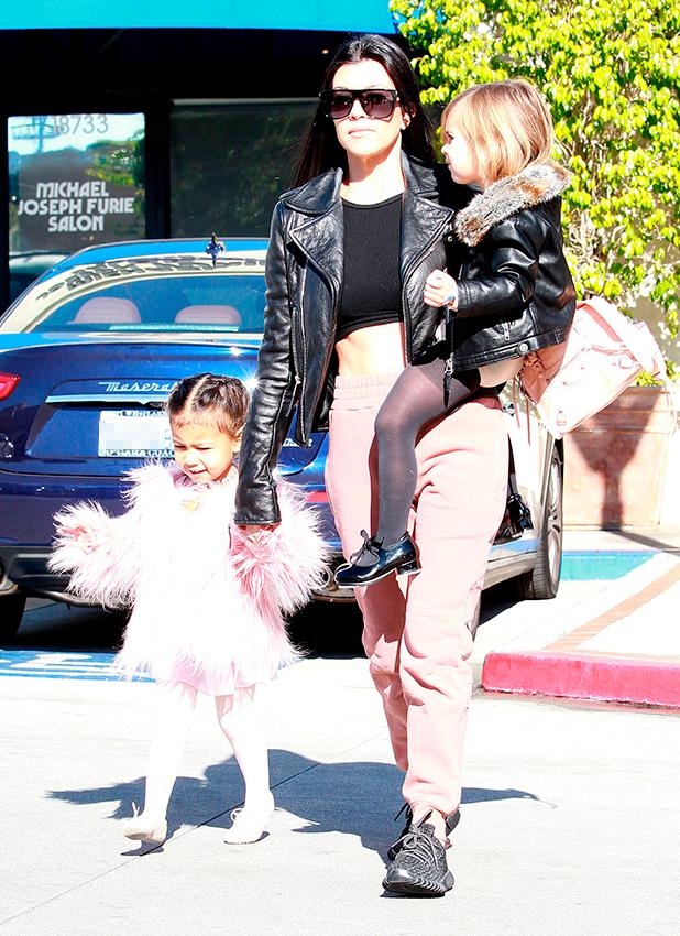 Kourtney Kardashian, Penelope Disick and North West 16 Dec 2015