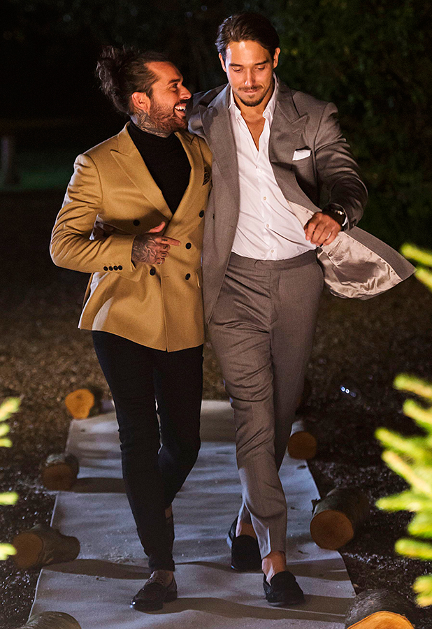 'The Only Way is Essex' cast filming, Suffolk, Britain - 28 Nov 2015 Peter Wicks and James Lock arrive in playful mood.
