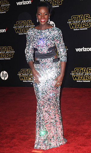 """Lupita Nyong'o World Premiere of """"Star Wars: The Force Awakens"""" at the Dolby, El Capitan, and TCL Theatres on December 14, 2015 in Hollywood, California."""