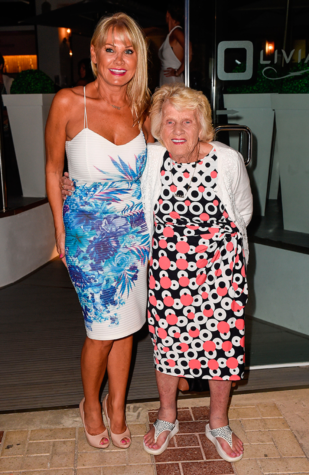 TOWIE stars at Olivia's La Cala restaurant in Marbella. The restaurant is owned by TOWIE star Elliott Wright. Nanny Pat and Carol