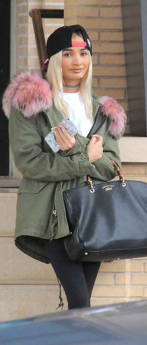 Pia Mia looking stylish in cap and khaki jacket in Los Angeles, 23rd December 2015