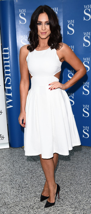 Vicky Pattison wears white dress to book signing in Romford, Essex, 20th December 2015