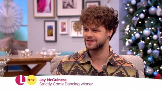 Strictly Come Dancing 2015 winner Jay McGuiness speaking on ITV's Lorraine. 21 December 2015.