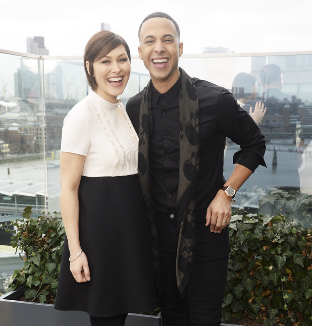 Pregnant Emma Willis and co-host Marvin Humes attend The Voice Launch, which airs on BBC One on Saturday, January 9th at 7:30 pm, at The Mondrian Hotel on December 21, 2015 in London, England.