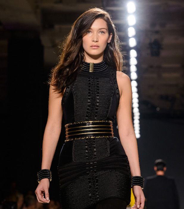 Bella Hadid walks for Balmain X H&M Collection in New York, 21st November 2015