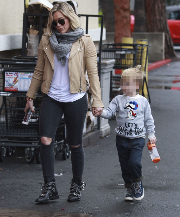 Hilary Duff out and about Christmas shopping with son Luca, Los Angeles, 23rd December 2015
