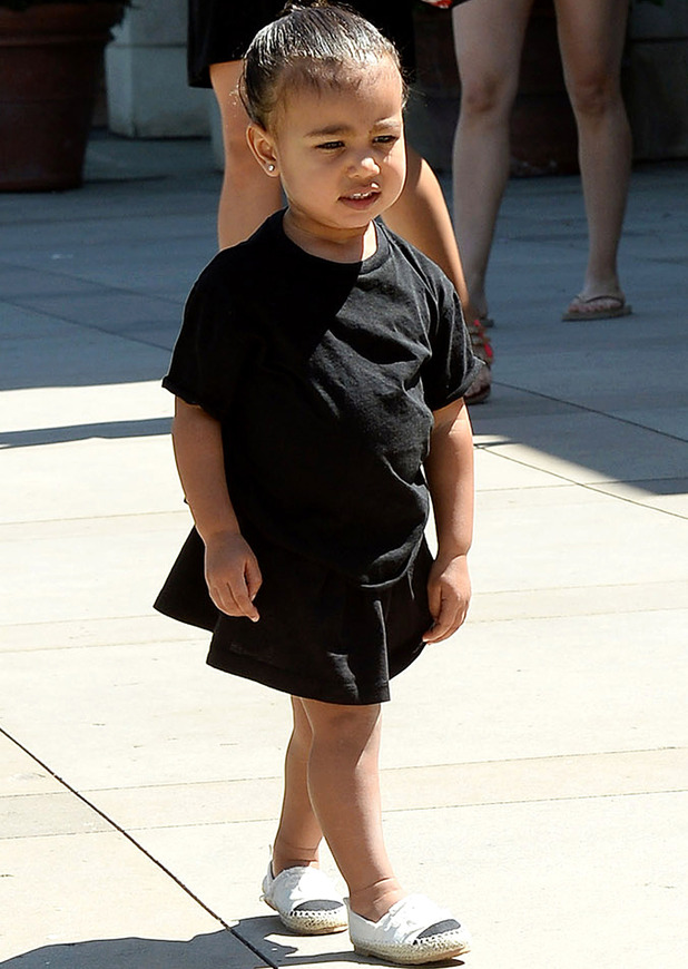 North West wears black dress and espadrilles out and about in Los Angeles, 21st December 2015
