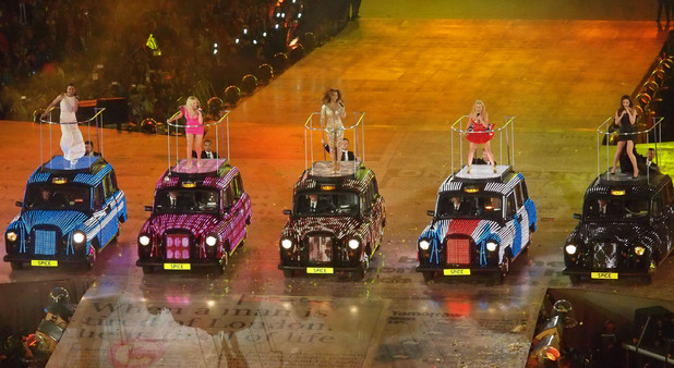 The Spice Girls - Geri Halliwell, Emma Bunton, Mel C, Mel B, Victoria  Beckham - performing at London 2012 Olympic Games - Closing Ceremony.12/8/12.