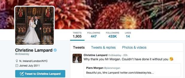 Christine Bleakley changes surname to Lampard on Twitter December 2015