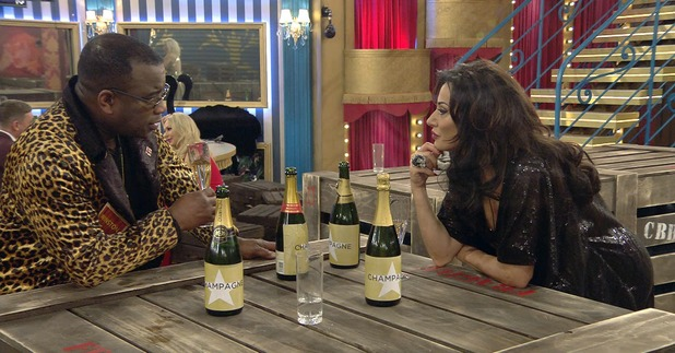 Celebrity Big Brother - Winston and Nancy in the living room. 6 January 2016. Broadcast on Channel 5