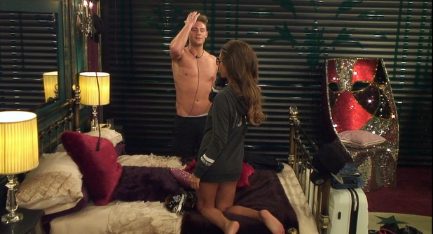 Celebrity Big Brother - Megan and Scott in the bedroom. 6 January 2016. Broadcast on Channel 5