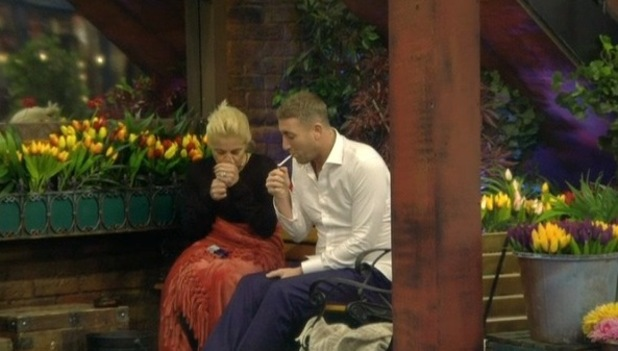 CBB: Danniella Westbrook and Christopher Maloney talk in the garden. 7 January 2016.