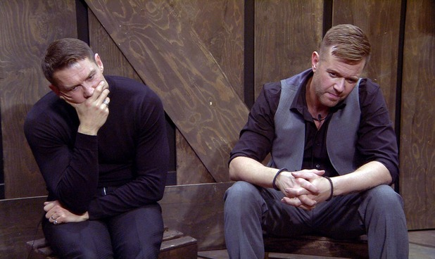 Celebrity Big Brother - John and Darren in the box. 6 January 2016. Broadcast on Channel 5