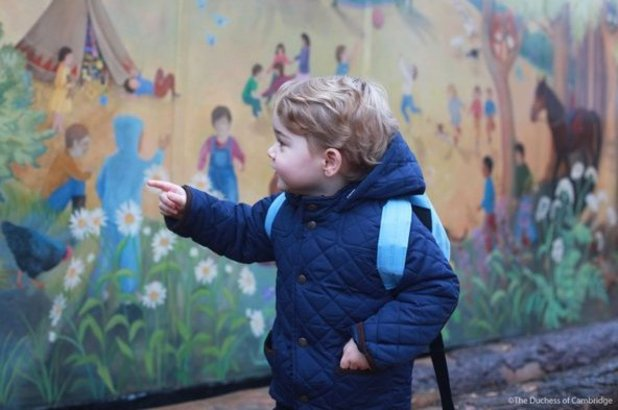 Kate Middleton photographs son Prince George on first day of nursery. 6 January 2016.