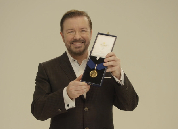 K9 Killer was presented the award by Ricky Gervais
