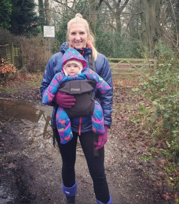 Rebecca Adlington enjoys a New Year walk with her daughter Summer, January 2016