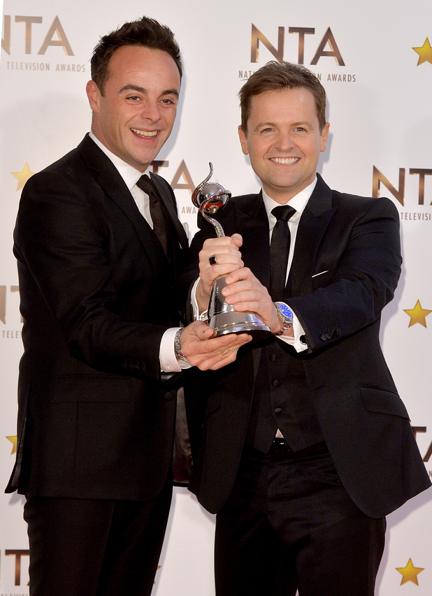 Ant and Dec pose in the winners room with their awards for Best Entertainment Presenters at the National Television Awards at 02 Arena on January 21, 2015 in London, England.