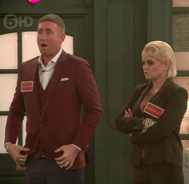 After nominating themselves to be locked away John Partridge and Darren Day have to choose witch three celebrities suitcases to be boxed up, choosing Winston, Christopher and Daniella on 'Celebrity Big Brother Launch'. Broadcast on Channel 5 HD