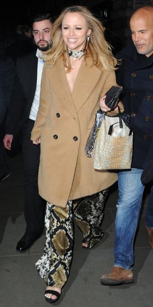 Kimberley Walsh celebrates her hen night with former Girls Aloud bandmates Nicola Roberts and Cheryl Fernandez-Versini, 15 January 2016.