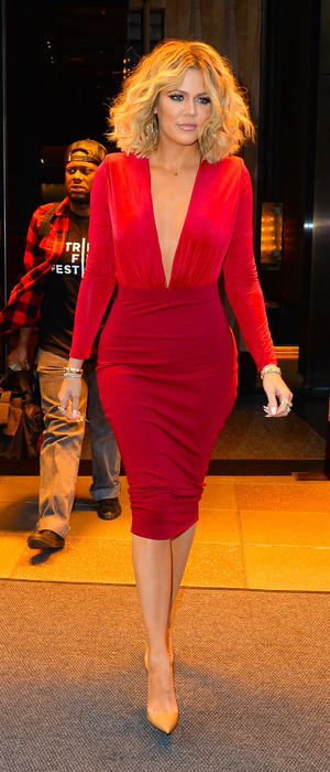Khloe Kardashian wears slinky red dress in New York City, 15th January 2016