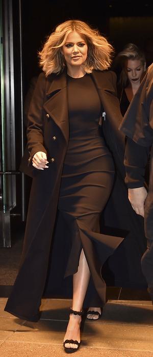 Khloe Kardashian looks sleek in all-black in New York, America, 15th January 2016