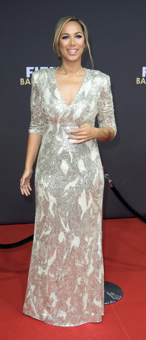 Leona Lewis attends the FIFA Ballon D'Or in Zurich Switzerland, wearing silver dress, 12th January 2016
