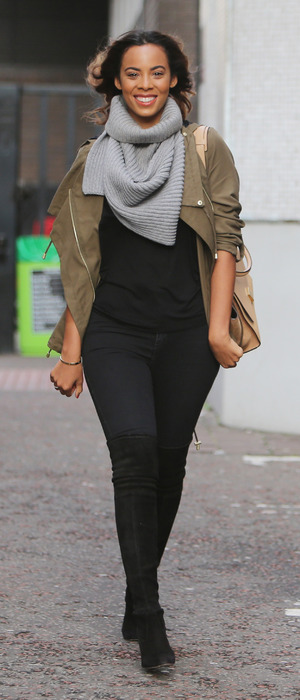 Rochelle Humes spotted outside ITV Studios in London wearing jacket from Very collection, 14th January 2016