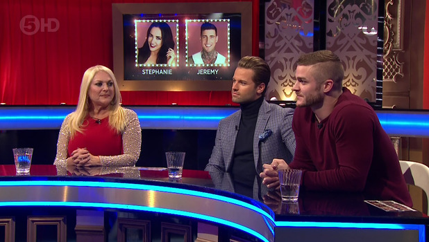 Vanessa Feltz, James Hill and Austin Armacost on Celebrity Big Brother's Bit On The Side. Broadcast on Channel 5 HD. 12 January 2016.
