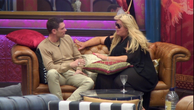 Gemma Collins and John Partridge in the CBB house, 16 January 2016.