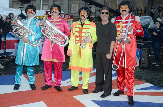 Simon Cowell with David Walliams and his band, Britain's Got Talent auditions in Liverpool 15 January