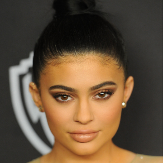 Kylie Jenner shows off her thicker, fuller brows at the Golden Globes party in L.A, 11th January 2016
