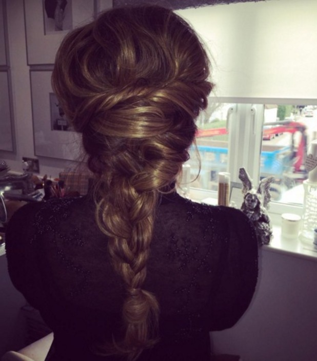 Jessica Wright shows off the back of her hair before attending the Creed UK premiere held at the Empire, London. Plait by Hannah Wieteska, 12 January 2016