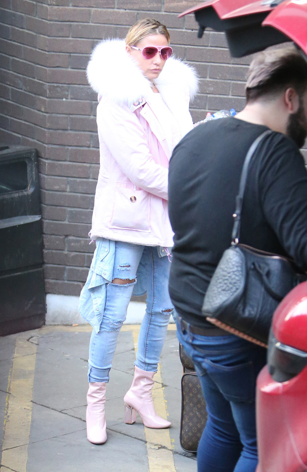Katie Price spotted in pastel pink clothes outside ITV Studios in London, 12th January 2016