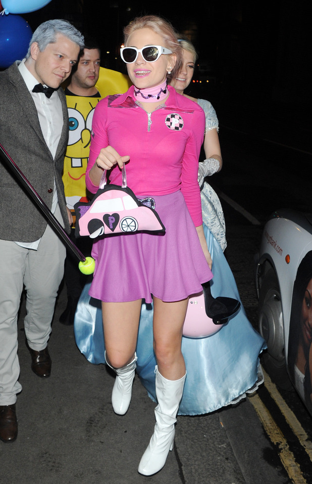 Singer Pixie Lott is seen out at Steam and Rye in London celebrating her birthday with friends wearing fancy dress, 12th January 2016