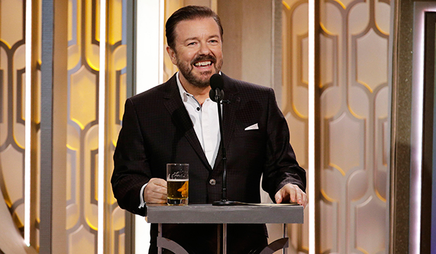 In this handout photo provided by NBCUniversal, Host Ricky Gervais speaks onstage during the 73rd Annual Golden Globe Awards at The Beverly Hilton Hotel on January 10, 2016 in Beverly Hills, California. (Photo by Paul Drinkwater/NBCUniversal via Getty Images)