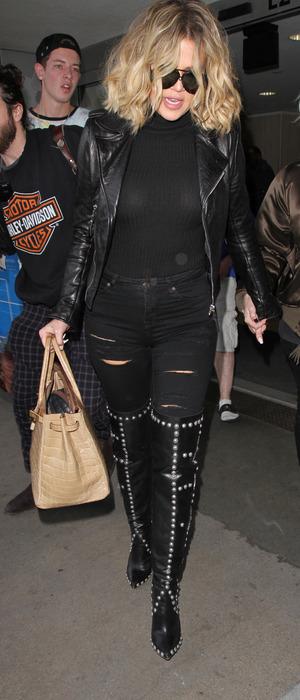 Khloe Kardashian arrives at L.A.X International airport with make-up artist Joyce Bonelli, 16th January 2016